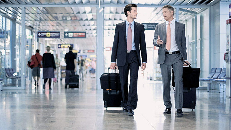 Businessmen in terminal