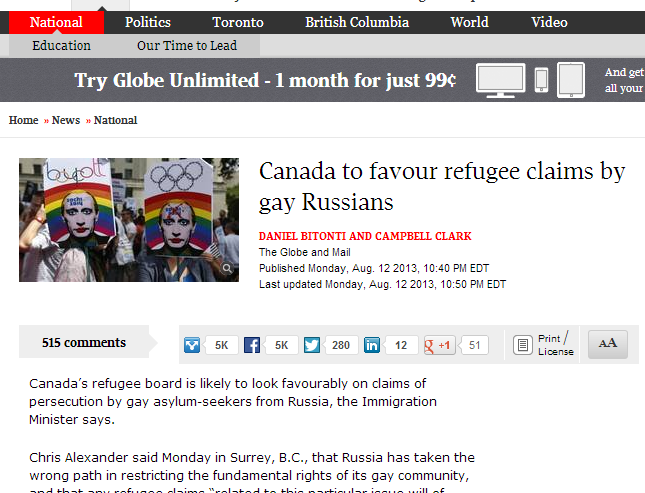 News website screenshot