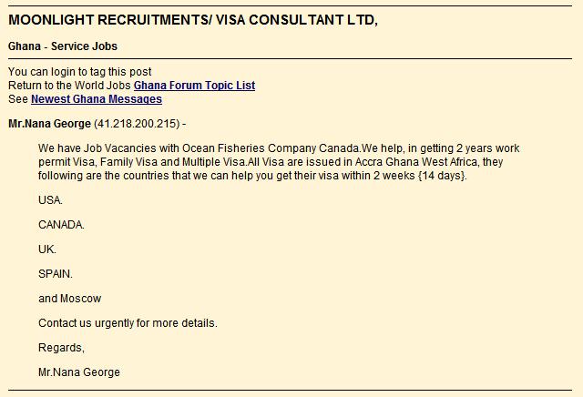 Unscrupulous visa ad posting