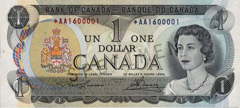 Canadian one dollar bill